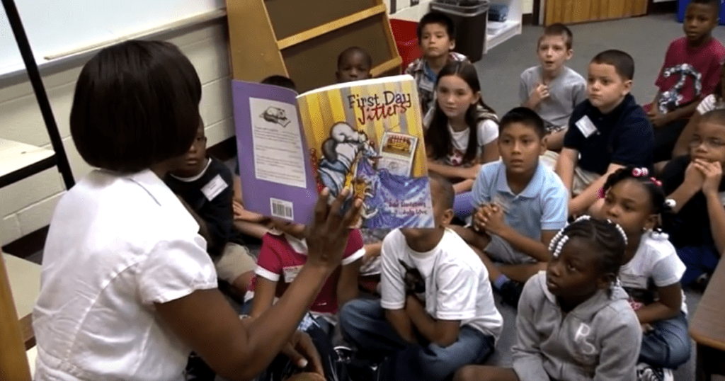 teacher reading to her classroom