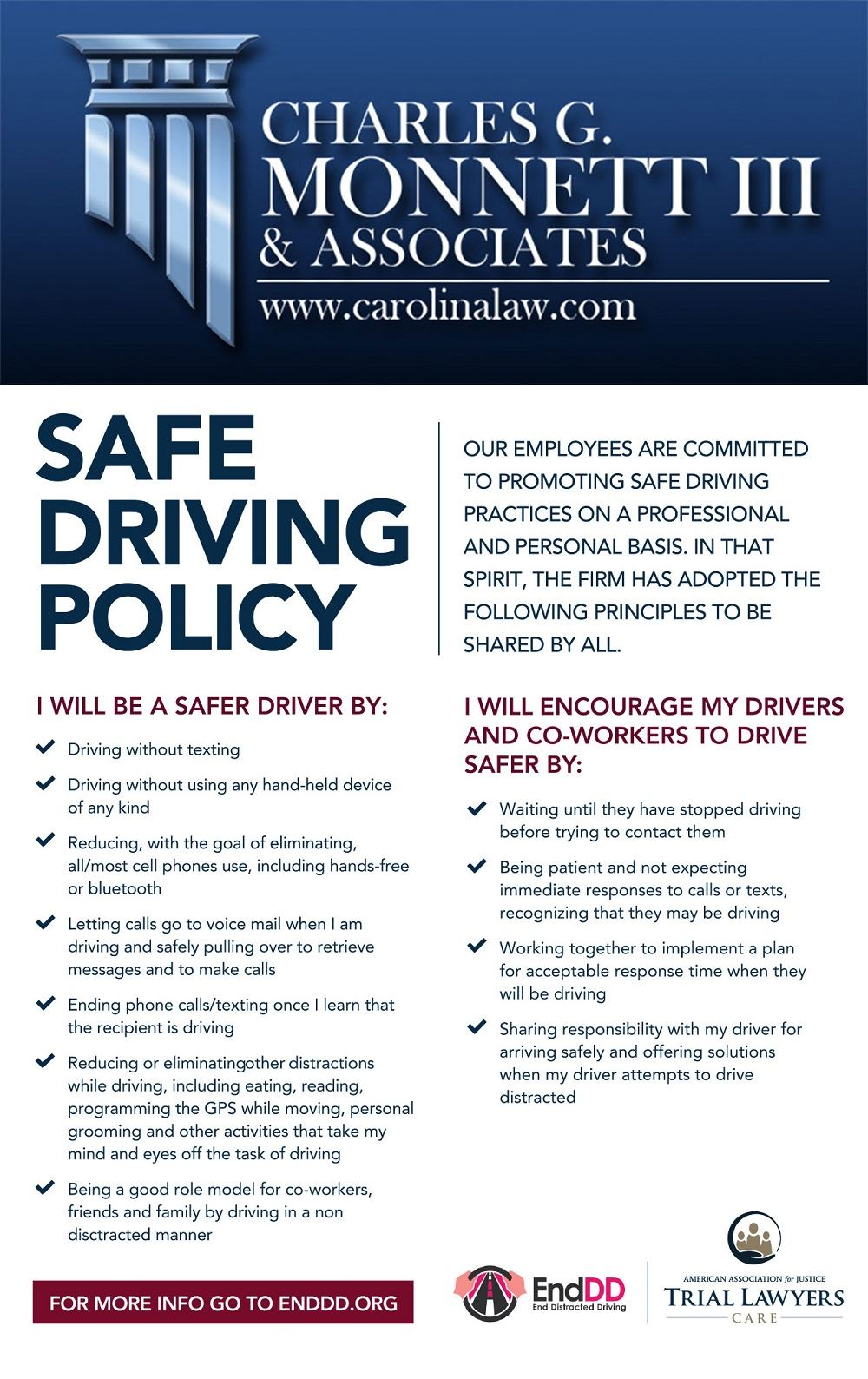 Charles G. Monnett III & Associates Safe Driving Policy infographic